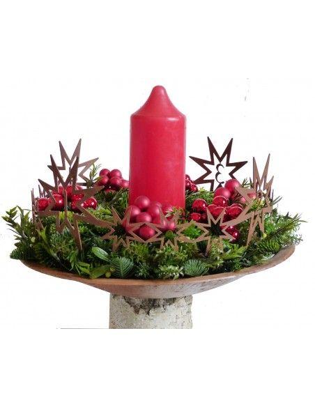 Weihnachtsdeko reduziert Adventskranz-Sternenkette-1-4 rund  - Ø 45 cm aus Edelrost Adventskranz-Sternenkette-1-4 rund aus Edelr