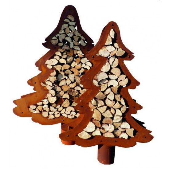 Katalogartikel Baum Holzregal 160 cm hoch groß  Kaminholzregal in Tannenbaumform Ohne Deko Höhe 160 cm Breite 120 cm Tiefe