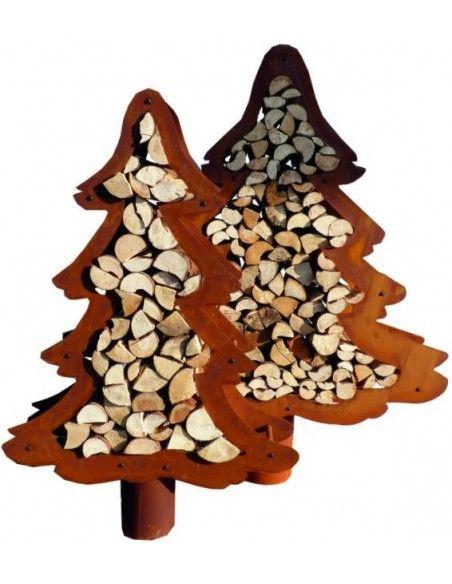 Weihnachtsbaum Metall und Edelrost Set Baum Holzregal 1,6 m +  1,4 m hoch  2 tlg. Baumset. zum Holzstapeln Ohne Holz, H 160cm