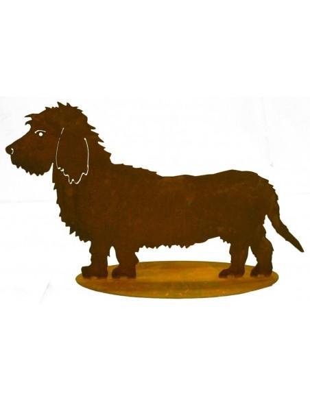 Gartendeko Hund Dackel Rauhaar