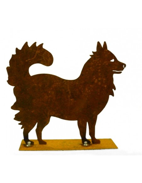 Deko Hunde Mini Edelrost Hund - Spitzle - 15 cm hoch - Husky Breite 17 cm Höhe 15 cm