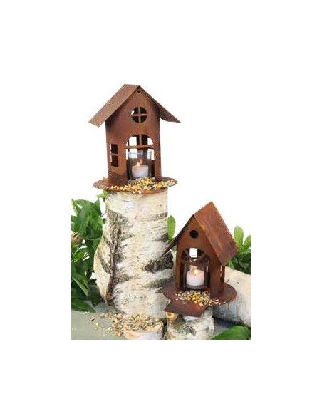 Vogelhäuser Rost Vogelhaus mit Steg, zum Hängen oder Stellen, Höhe 19 cm (klein) Rost Vogelhaus mit Steg, zum Hängen oder Stelle