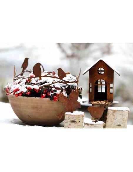 Vogelhäuser Rost Vogelhaus mit Steg zum Hängen oder Stellen - Höhe 19 cm (klein) Rost Vogelhaus mit Steg, zum Hängen oder Stelle