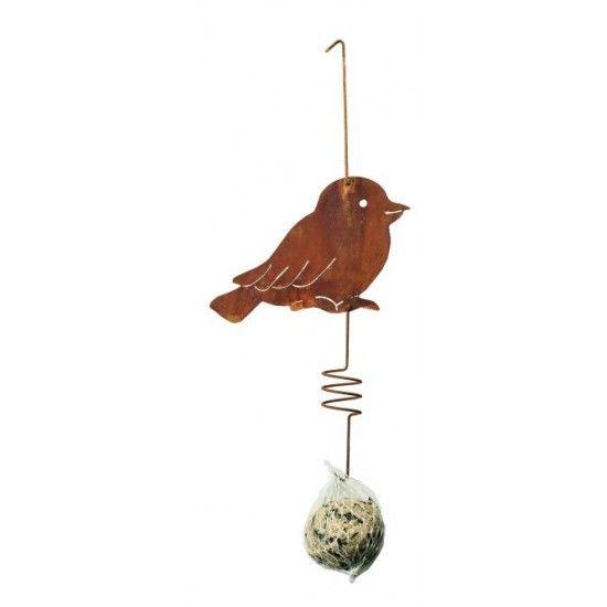 Deko zum Hängen Vogel aus Metall inkl. Meisenködel netter rostiger Vogel als Futterstelle inkl. Meisenknödel zum Aufhängen Läng