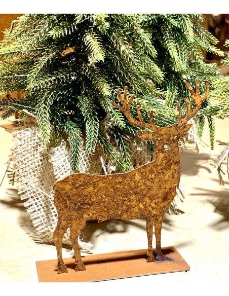 ausgefallene Tischdekoration  Deko Hirsch Mini - kleiner Edelrost-Hirsch Hiruz Höhe 12 cm  H: 12 cm B: 11 cm netter Hirsch al