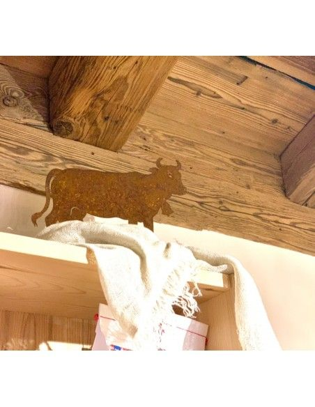 Allgäu Deko Edelrost Deko Kuh klein 30 x 20 cm auf Platte Original Allgäuer Viehscheid Kuh  Die Original Allgäuer Rost Kuh in k