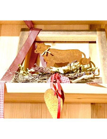 Allgäu Deko Rost Kalb klein 25 x 33 cm auf Platte  Höhe: 25 cm Breite: 33 cm inkl. Strick