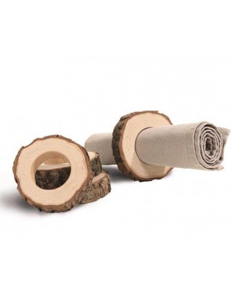 Serviettenringe Holz Serviettenringe aus Holz - 4er Set: Holzring mit Rinde  4 Stück Serviettenringe aus Holz mit dekorativer R