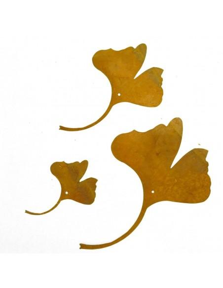 Deko Ketten  3 teilige Ginkgo Kette - Edelrost 3 Sück Ginkgo Kette zum fädeln oder Einarbeiten in Gestecke, Kränze etc. Höhe je
