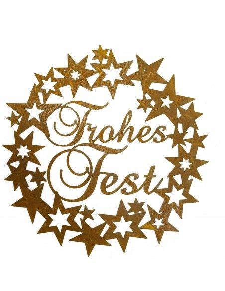 Weihnachtsdeko Aussen Sternenkranz mit Schriftzug - Frohes Fest - Ø 40cm  Ø 40cm