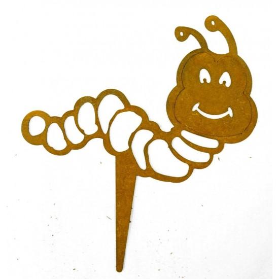 Gartenstecker Wurm lustig