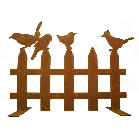 Gartendeko Rost Edelrost Vogelzaun mit 4 Vögelchen 50 cm breit auf Platte Edelrost