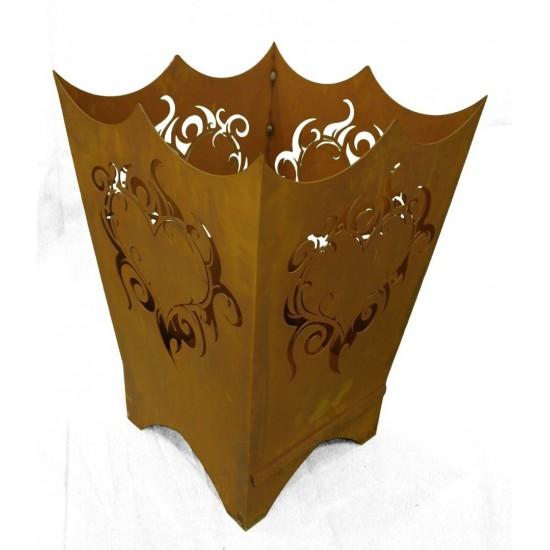 Feuerschalen Feuerkorb Flammenherz 60 CM hoch rechteckig 40 x 40m Höhe: 60 cm Breite: 40 x 40 cm eine eingebaute Schiebeplatte