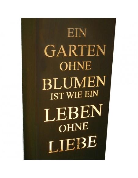 """Rost Säule Gedicht """"Ein Garten ohne Blumen ist wie ein Leben ohne Liebe -Säule Rost"""