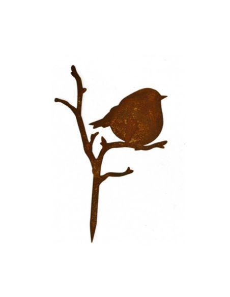 Start Dickes Vögelchen auf Ast -  Höhe 17 cm zum Stecken  Süßes dickes deko Vögelchen auf Ast mit kurzem Stecker ist ideal für