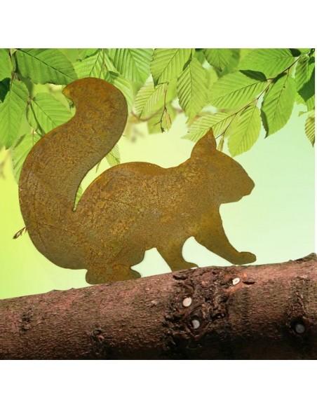 Tiere mit Baumspieß sitzendes Eichhörnchen mit Baumspieß - HÖhe 19,5 cm Direktstecker Eichhörnchen zum einschlagen in Weichholz