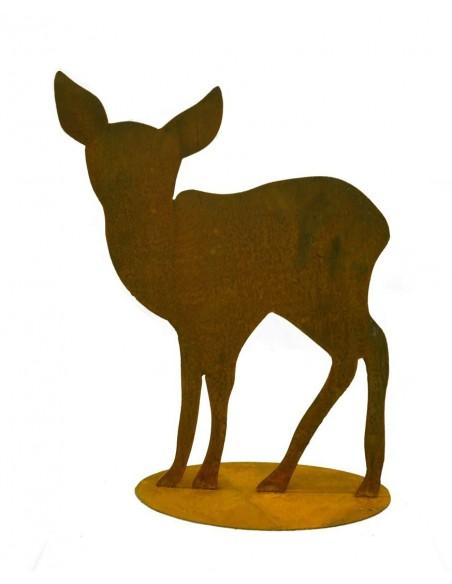 Rehkitz auf Platte mit schöner Silhouette passend zum großen Hirsch und Reh