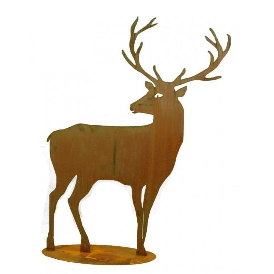 Rost Hirsch groß Höhe 100 cm nach hinten schauend - breites Geweih