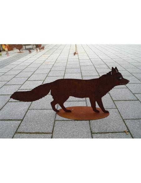 Gartendeko Rost Edelrost Deko Fuchs lebensgroß - 100 cm lang  Dieser Fuchs ist eine lebensgroße Dekofigur aus Metall mit Rostpa