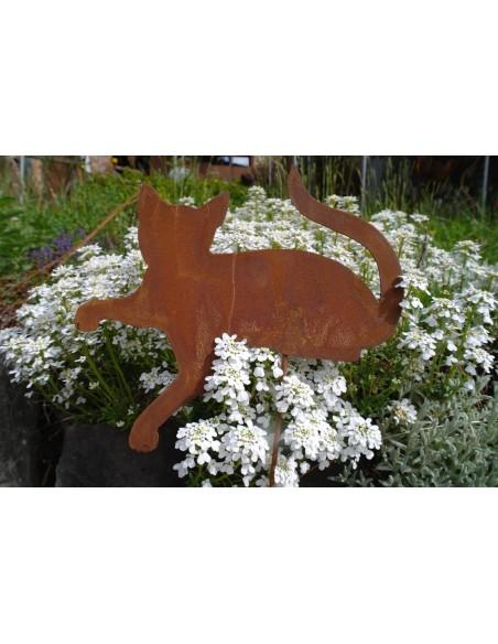 Deko Katzen und Mäuse Rost Minikatze liegend Gartenstecker 25 cm lang Liegende Edelrost Katze zur Dekoration Ihrer Gestecke oder