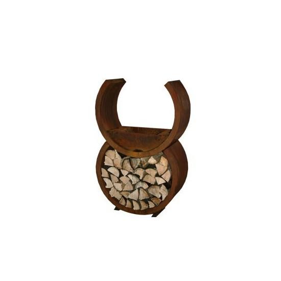 Feuerschale/Grill Rondo aus rost auch optimal um Holzscheite aufzubewahren