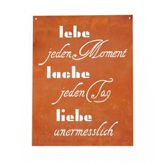 Spruchtafel - Lebe jeden Moment, lache jeden Tag, liebe