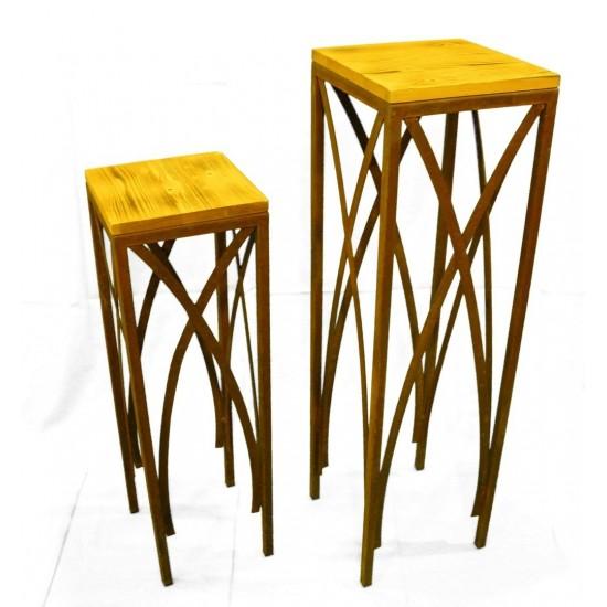 Edelrost Holz Tische 2er Set - 102 cm...