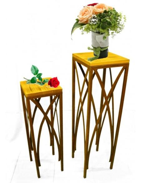 Tische, Stühle und Möbel Edelrost Holz Tische 2er Set - 102 cm + 78 cm hoch  2-er Set 29 x 29 x 102 cm 25 x 25 x 78 cm Ideal zur