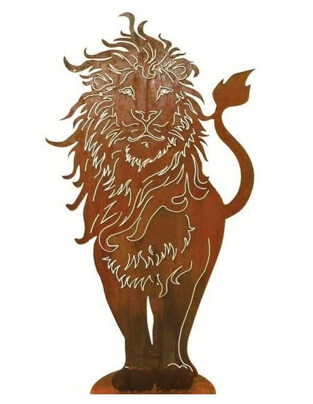 Afrika Edelrost Löwe 100 cm hoch  Höhe 100 cm, Breite ca. 53 cm auf Bodenplatte