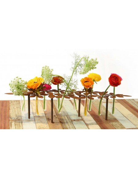 ausgefallene Tischdekoration  Tischdeko Ständer - Blumen - 64 cm lang inkl. 10 Reagenzgläser Die perfekte Tischdeko mit Blumen: