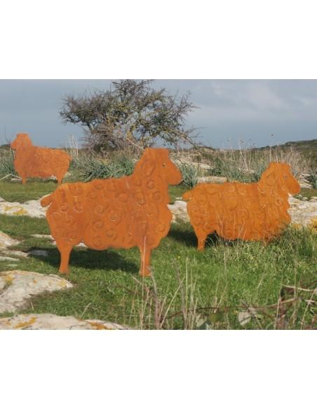 Schafe +Ziegen Deko Schaf groß 56 x 70 cm Gartenfigur für den Bauerngarten Rost Schaf groß 56 x 70 cm auf Platte    H&o
