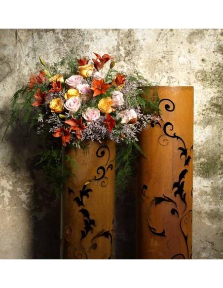 Winterdeko Rostige Säule Barock 120 cm - runde Rostsäule   Höhe 120 cm Durchmesser 27 cm toller Effekt, wenn die Säule beleu