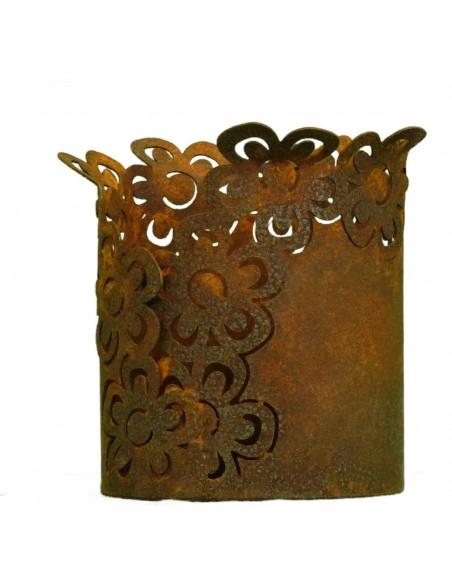 Rostdeko zum Beleuchten kleines Rost Tischwindlicht Motiv Blume 10 cm hoch Höhe 10 cm Ø 8 cm
