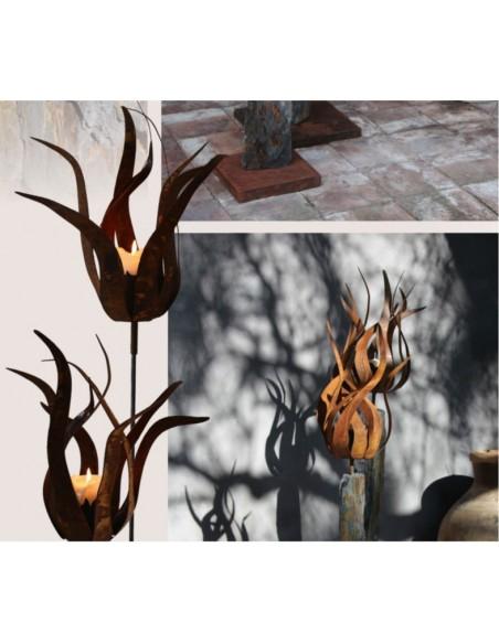 "Gartenfackeln Edelstahl Feuerblume - Fiamma - 45 cm mit Hülse - Groß Ø 45 cm  Feuerblume ""Fiamma"" mit einer Hülse, ideal zum Ei"