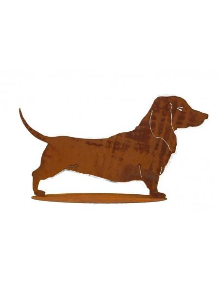 Tierfigur Dackel aus Edelrost auf Platte