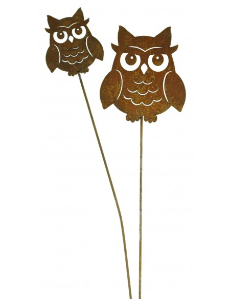 Deko Eulen Edelrost Deko Kauz als Gartenstecker klein, Höhe 10cm - Eule Metall Niedlicher Edelrostkauz klein auf Stab zum Stecke