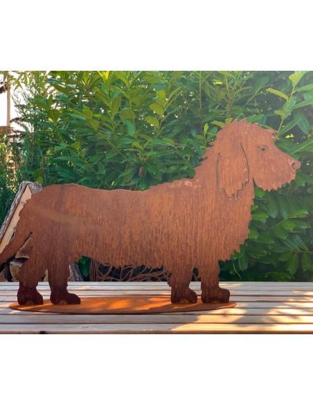 Deko Hunde Deko Rauhaardackel Bastian - Rost Hund Dekofigur - Länge 70 cm  Hübscher Deko Hund als Rauhaardackel für den Garten