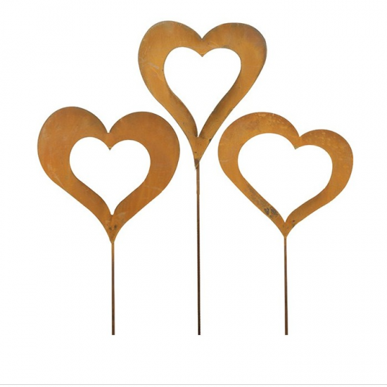 Gartenstecker Herz Herzstecker mit 3 Motiven als Set - Romeo - 120 cm hoch 3-teiliges Gartenstecker Set mit unterschiedlichen Mo
