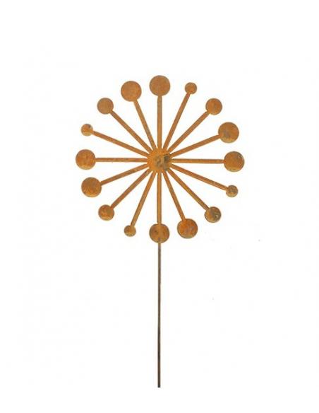 Gartendeko Rost Pusteblume (flach) als Gartenstecker - Ø 30 x 120 cm Höhe Aus Edelrost gefertigte Pusteblume in einer modernen V