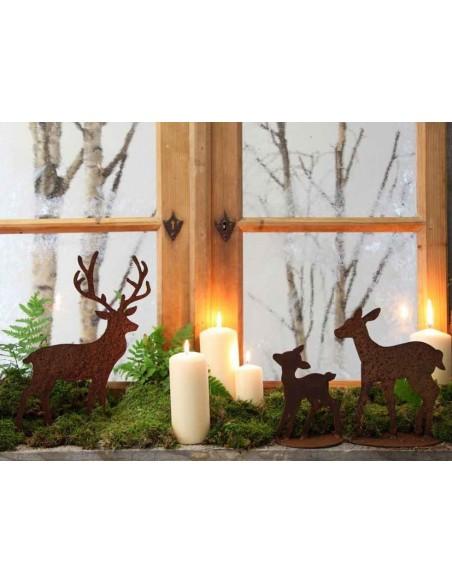 Weihnachtsdeko Deko Hirsch aus Edelrost - klein Höhe 28 cm - Zum Stellen Kleiner Deko Hirsch für die Fensterbank oder deinen Gar