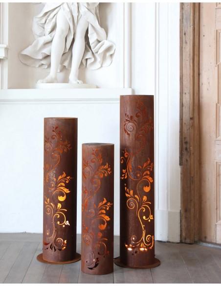 runde Rostsäulen runde Rost Säule Barock Höhe 100 cm, Ø 27cm filigranes Muster Produktdetails: runde Rost Säule Barock Variante