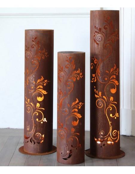 runde Rostsäulen runde Rost Säule Barock  Höhe 120 cm, Ø 30cm filigranes Muster runde Rost Säule Barock Höhe 120 cm, Ø 30cm u