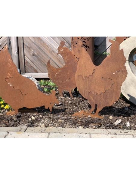 Frühling / Ostern Henne schaut seitlich 40 cm - Edelrost Huhn  Höhe 40 cm Breite 27 cm mit Bodenplatte
