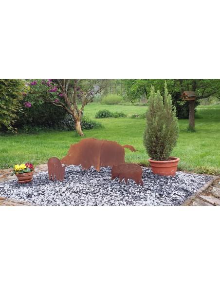 Wildschwein, Fasan und Auerhahn Edelrost Wildschwein 100 cm breit Edelrost-Wildschwein für Ihren Garten, Wald oder Landhaus Bre