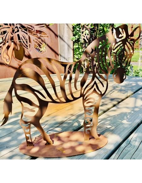 Afrika Edelrost Deko Zebra 40 x 40 cm Gartenfigur Ein Muß für alle Afrika Fans: Unser Rost Zebra Maße: 40 x 40 cm auf Bodenpla