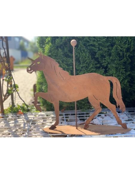 Pferde + Esel Turnierpferd mit Stange mittig auf Platte 40 cm hoch Höhe 40 cm Breite 50 cm in der Mitte ist eine Stange mit Ku