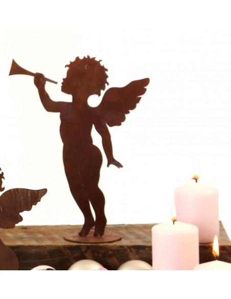 Rost Engelchen mit Trompet, Höhe 25 cm, Putte Engelsputte