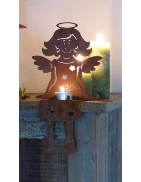 Teelicht Kantenhocker Engel rostig