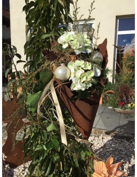Gartenstecker zum Bepflanzen Rost Metalltüte 30 cm hoch auf Stab - Gartenfackel und Pflanztüte  lässt sich bepflanzen oder z.b.