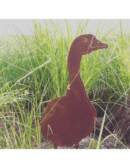 Enten und Gänse Deko Gans Metall - stehend von Vorne 60 cm hoch Diese lustige Ente scheint direkt in Deinen Garten watscheln zu